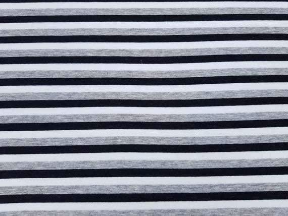 Stoff Sweatshirtstoff mit Alpenfleece Blockstreifen gestreift grau schwarz